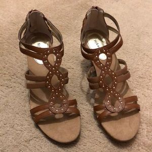 "Brown strappy 3"" wedge sandals, 11 M"